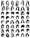 Haircut silhouettes of hair styling illustration Royalty Free Stock Photo