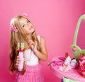 Hairdresser blond fashion doll girl Royalty Free Stock Photography