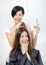 Hairdresser cuts hair of girl in hairdresser s women hairdressing salon concept fashion and care Royalty Free Stock Image
