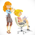 Hairdresser does a hairstyle to the client isolated on white background Royalty Free Stock Photo