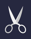 Hairdresser handle shape line work, art scissors separation salon open barber equipment and design symbol tailor object