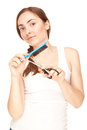 Hairdresser holding a  scissors and comb Stock Photo