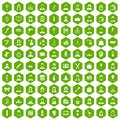 100 hairdresser icons hexagon green