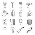 Hairdresser icons set, outline style