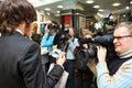 Hairdresser Sergei Zverev and journalists Stock Photos