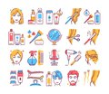 Hairdresser service color line icons set. Professional hair styling. Beauty industry. Pictograms for web page, mobile app, promo