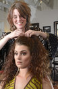 At the hairdresser a women having her hair styled salon Royalty Free Stock Photography