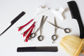 Hairdressers tools scissors comb clips Royalty Free Stock Photo