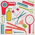 Hairdressing collection a colorful equipment Royalty Free Stock Photo