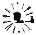 Hairdressing equipment icons.