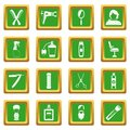 Hairdressing icons set green