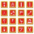 Hairdressing icons set red