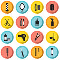Hairdressing icons set vector illustration Stock Photos