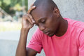 Hairless african american man in depression Royalty Free Stock Photo