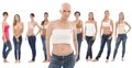 Hairless woman with breast cancer awereness ribbon young women in underwear wearing pink this is a free image part of a charity Royalty Free Stock Image