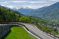 Hairpin viabilities and dangerous mountain panoramic Stock Photography