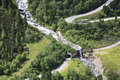 Hairpins in the alpenstrasse zillergrund austria starts near schlegeis reservoir and leads to a ravine near mayrhofen ziller Stock Photo