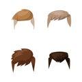Hairstyle beard and hair face cut mask flat cartoon vector. Royalty Free Stock Photo