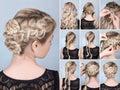 Hairstyle braid tutorial on blonde model hairdo for long hair Stock Photos