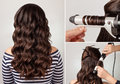 Hairstyle curly hair tutorial create curls process long hairs for long brunette girl with long healthy dark Royalty Free Stock Photos