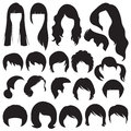 Hairstyle hair silhouettes woman and man Royalty Free Stock Images