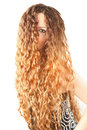 Hairstyle from long curly hair on isolated Royalty Free Stock Photography