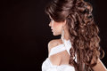Hairstyle long hair glamour fashion woman portrait of beautifu beautiful brunette Royalty Free Stock Photo