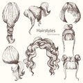 Hairstyles. Vector set. Hand drawing
