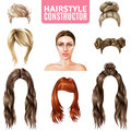 Hairstyles For Women Constructor Royalty Free Stock Photo