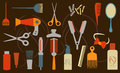 Hairstyling objects vector illustration of various tools Royalty Free Stock Images