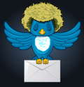 Hairy Bird with envelope mail Royalty Free Stock Photo