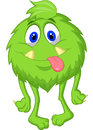 Hairy green monster cartoon illustration of Royalty Free Stock Photos