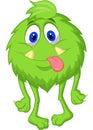 Hairy green monster cartoon Royalty Free Stock Photo