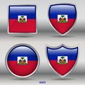 Haiti Flag in 4 shapes collection with clipping path