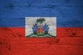 Haiti national flag coat arms painted old oak wood Royalty Free Stock Photo
