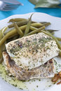 Hake fillet with green beans Stock Image