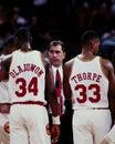 Hakeem Olajuwon, Rudy Tomjanovich and Otis Thorpe, Houston Rockets.