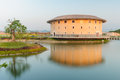 Hakka tulou structures in miaoli taiwan by the pond Royalty Free Stock Photo