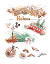 Hakone atttractions watercolor illustration. Hot spring ropeway, Royalty Free Stock Photo