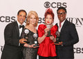 Hal luftig daryl roth cyndi lauper and billy porter producers join singer songwriter legend broadway star in the press room Royalty Free Stock Photography