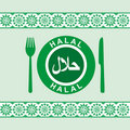 Halal - plate, knife and fork Royalty Free Stock Image