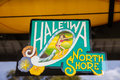 Haleiwa north shore sign famous for haleiiwa town on the of oahu hawaii Royalty Free Stock Photo