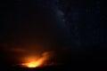 Halemaumau Crater under a starry sky, Big Island, Hawaii Royalty Free Stock Photo