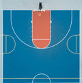 Half basketball court aerial view Royalty Free Stock Photo