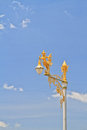 Half bird half woman on street lamp blue sky background Royalty Free Stock Photography