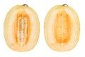 Half of cantaloupe melon isolated on the white background. Royalty Free Stock Photo
