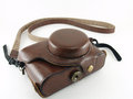 Half case for camera brown leather on white background Royalty Free Stock Photography