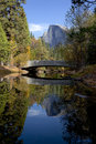 Half dome behindsentinel bridge fall view of merced river reflection of behind sentinel yosemite valley Royalty Free Stock Photo
