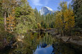 Half dome and merced river fall view of yosemite valley Royalty Free Stock Image