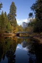 Half dome and sentinel bridge fall view of merced river yosemite valley Stock Images